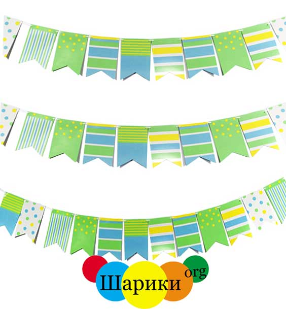 Гирлянда-флажки-Green&Yellow-ассорти-250см